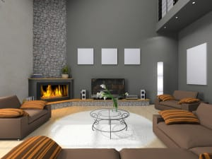 Corner fireplace in modern home