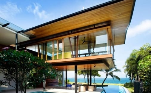 Modern home designed sit above a pool